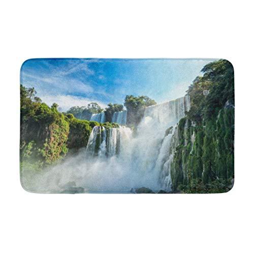 AoLismini Alfombra de baño Cascada Cataratas del Iguazú 7 Maravilla del Mundo Decoración de baño acogedora Alfombra de baño con Respaldo Antideslizante