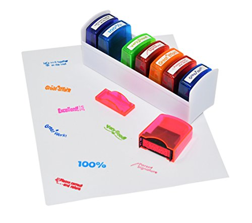 Colorful Self-Inking Motivation School Grading Teacher Stamp Set and Tray   8 Piece Set - by Home-X
