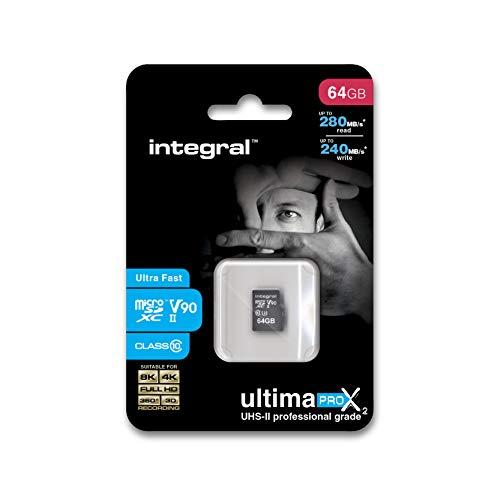 Integral - Micro SD XC 64Go, Carte Mémoire Ultima Pro x2 Ultra Haute Vitesse jusqu'à 280Mb/s, Pour Enregistrements Video 4K, 8K, 360, 3D, Classe 10, UHS-II, U3, V90 + Adaptateur SD