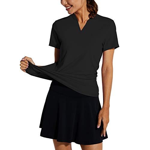 BALEAF Women's Tennis Shirts Short Sleeve UPF 50 Sun Protection Golf Polo Shirts Quick Dry Collarless V-Neck Lightweight Black Size M
