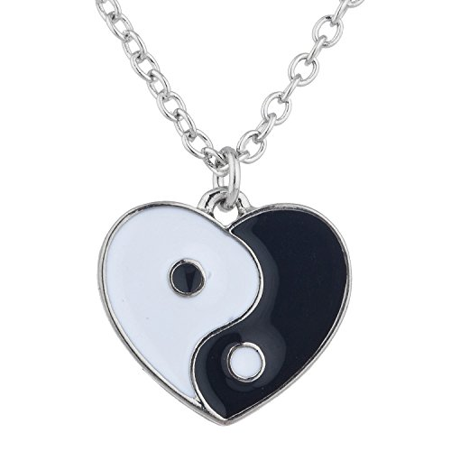LUX ACCESSORIES Silver Tone Cute Girl Heart Shaped Yin Yang Chain Necklace