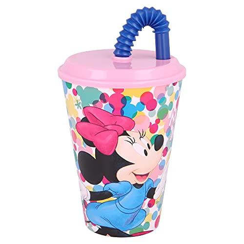 MINNIE MOUSE   Vaso Reutilizable con Tapa y Pajita para niños  Vaso infantil de plástico - 430 ml- sin BPA