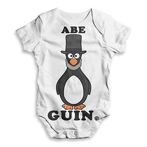 Twisted Envy Funny Bodysuits Baby Grow Onesie Abe Guin The Abraham Lincoln Penguin White 6-12 Months