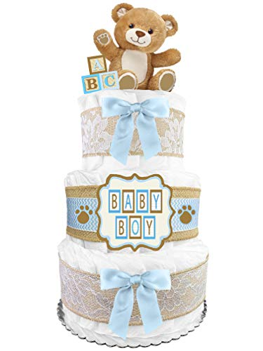 Teddy Bear Diaper Cake - Baby Shower Gift for a Boy - Blue and Burlap