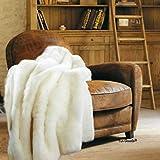 4x5 Faux Fur Accent Throw Blanket/Toss Rug/Fake Tissavel Mink/Bear Fur Area Throw Carpet/Pelt Rug/Creamy Off White Rabbit Color New