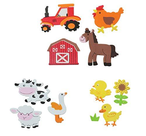 Glorex 6 2247 708 - Moosgummi Sticker Bauernhof, selbstklebend, 29 Stück, sortiert in verschiedenen Motiven, ideal zum Verzieren und Dekorieren von Grußkarten, für Scrapbooking, usw.