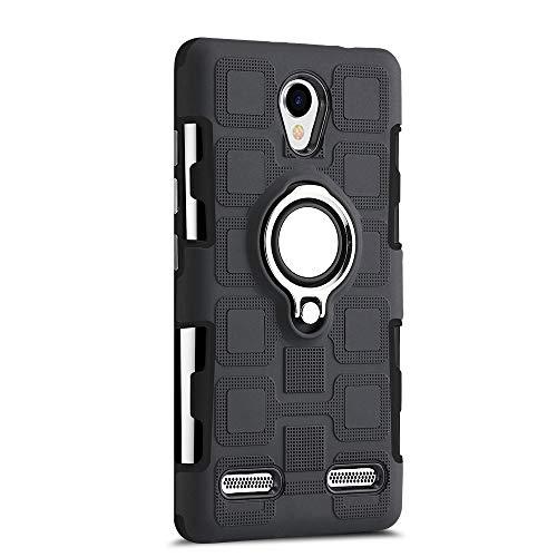 Sunrive Für ZTE Blade L7 Hülle Silikon, 360°drehbarer Ständer Ring Fingerhalter Fingerhalterung Handyhülle matt Schutzhülle Etui Hülle (11 Schwarz)+Gratis Universal Eingabestift