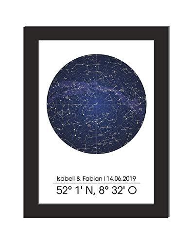 Personalisiertes Wandbild/Sternenkarte/Jahrestag/Koordianten/Geschenk Hochzeit/Einweihungsgeschenk / A4, ohne Bilderrahmen