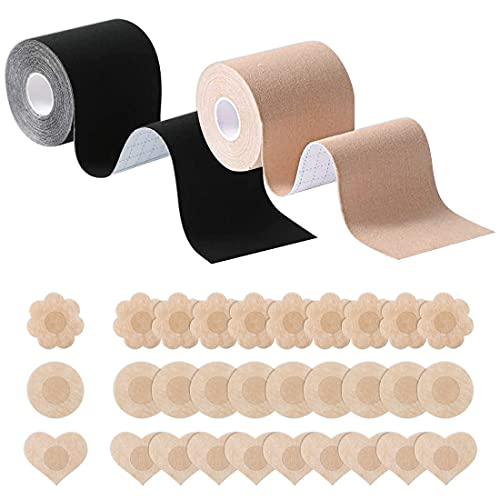 HSAJS Bruststraffungsband,2 Rollen Körperband für Frauen mit 30-teiligen Brustblumen-Brustwarzenabdeckungen, Selbstklebendem Push-Up-BH-Band für Körbchengröße von A bis E (Black+Khaki)