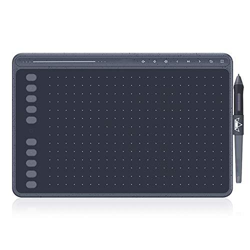 SRMTS Tableta de Dibujo Hs611 Tableta GráFica sin BateríA Soporte de InclinacióN de Tres Colores Barra TáCtil y Teclas Express,Gris