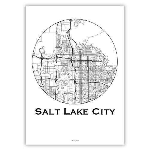 Plakat Salt Lake City Utah USA Minimalist Map - Poster, City Map, Dekoration, Geschenk