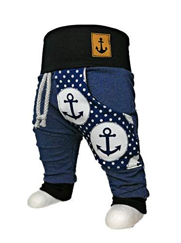 Baby Pumphose mit Tasche Anker Gr. 50-104 maritim Jeansoptik handmade Puschel-Design