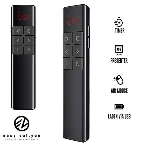 Easy Valyou Presenter met timer laserpointer Air Mouse, afstandsbediening, draadloze vibratie, tijdweergave, powerpoint, USB-presentatie, voor Mac Windows iPad, computer, pc, oplaadbaar, clicker, presenter, PPT-muis