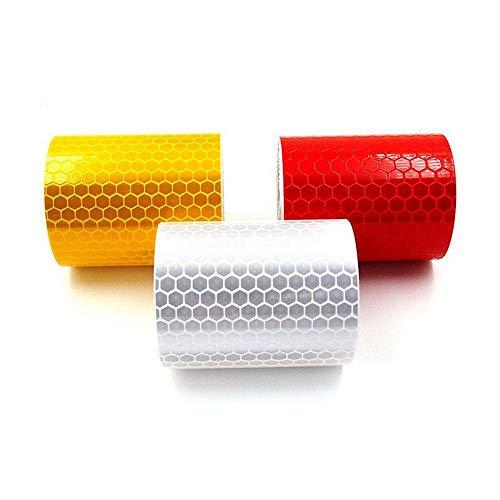MoonyLI 3 Stück Reflektorband Klebeband Selbstklebende, Warnklebeband Reflexionsfolie Reflexstreifen selbstklebend reflektierend,Sicherheit zur Markierung 3 Farben 5cm x 3m