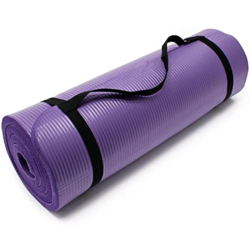 TYUTYU Estera de Yoga espesana ampliada Alargada NBR Yoga Antideslizante Home Fitness Mat Male Hombre Mujer Principiante Gimnasio Pilates Ejercicio (Color : Purple)