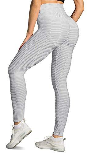 Memoryee Panal arrugado para nalgas de las mujeres leggings Levante los pantalones de yoga de cintura alta Elegante con gimnasio de control de la barriga/Estilo1-gris/M