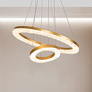 """Joyxeon 20""""W x 40""""H Gold Crystal Chandelier LED Integrated, 3000K Warm White Not Dimmable"""