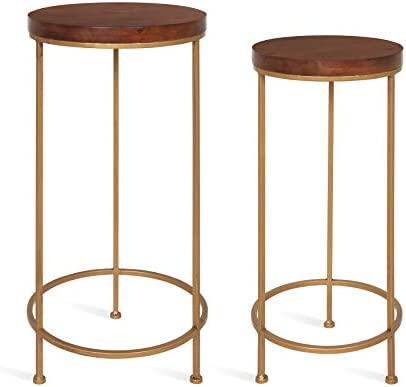 Best Kate and Laurel Espada Metal and Wood Nesting Tables 2 Piece Set, Walnut Brown/Gold