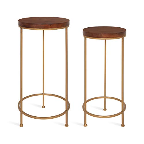 Kate and Laurel Espada Metal and Wood Nesting Tables 2 Piece Set, Walnut Top with Gold Base