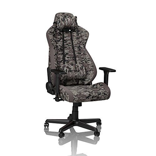 NITRO CONCEPTS S300 Gamingstuhl - Ergonomischer Bürostuhl Schreibtischstuhl Chefsessel Bürostuhl Pc Stuhl Gaming Sessel Stoffbezug Belastbarkeit 135 Kilogramm - Urban Camo