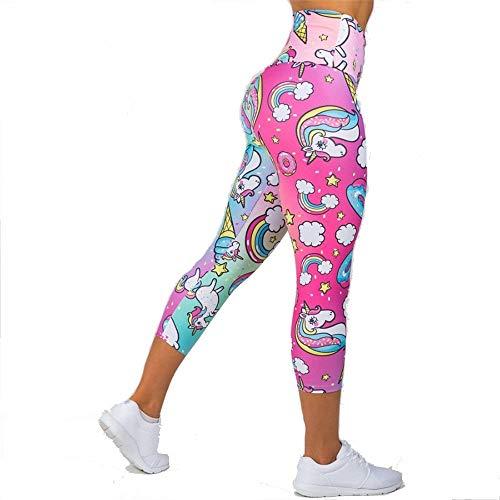 Mujer Leggins Desportivos, Pantalones de la yoga del unicornio Impresiones for verano Capri polainas de la manera de la alta cintura de las mujeres flacas pantalones largos Fitness Gym medias Pantalon