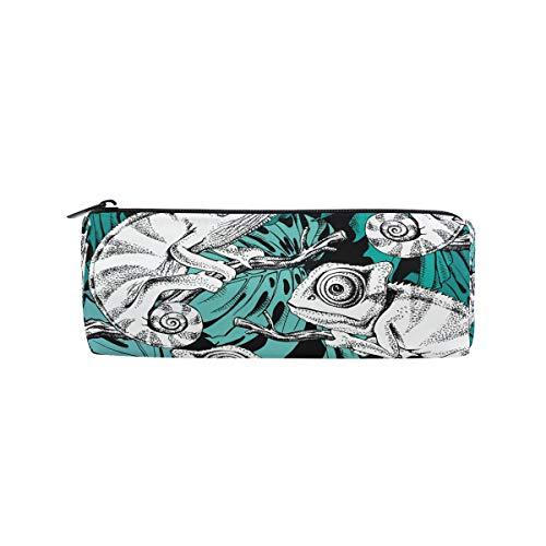 Federmäppchen in Zylinderform mit Tier-Nahtloses Muster Chamäleon Stiftebeutel mit Reißverschluss