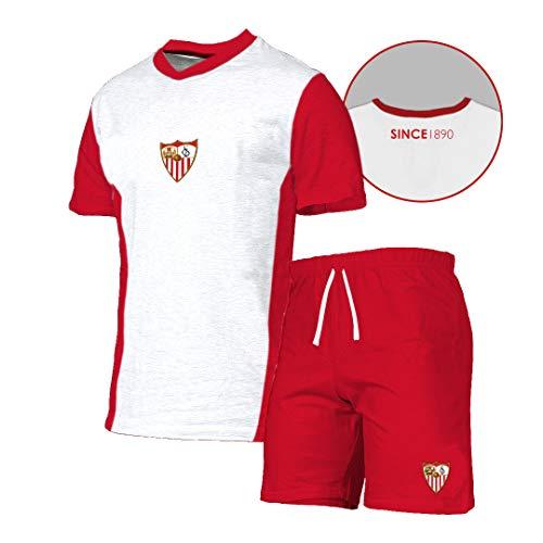 Sevilla F.C. Pijtsv Pijama Corto, Unisex Adulto, Blanco, XL