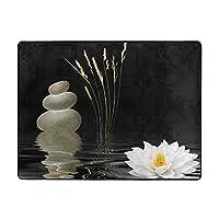 Stones Lotus Flower Reflection In Water カーペット,洗濯機で洗える160cmx120cm 寝室、居間、寮、滑り止めフロアマット、厚くて丈夫な フロアマット,人気のオシャレ カーペットランキング