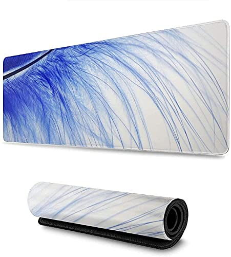 Blue Colored Feathers Gaming Mouse Pad, Long Extended XL Mousepad Desk Pad, Large Non-Slip Rubber Mice Pads Stitched Edges, 31.5'' X 11.8''