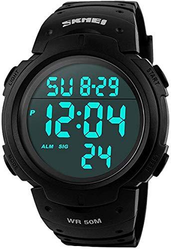 SKMEI orologio da uomo sportivo digitale, orologio da esterni, impermeabile, con sveglia e timer, militare, con retroilluminazione a LED, adatto a corridori, colore nero