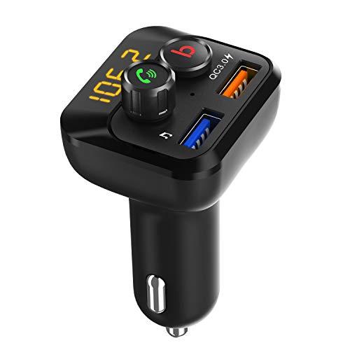 Mbuynow Trasmettitore FM Bluetooth 5.0 per Auto, Rilevamento automatico della tensione della batteria, una chiave per accedere alla modalità bassi, supporto massimo 64G