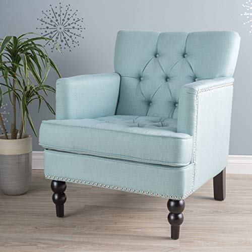 Medford | Button-Tufted Fabric Club Chair | in Light Blue
