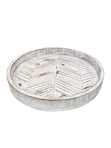Paper And Pallet Rustic White Herringbone Wood Lazy Susan - Distressed Farmhouse Turntable Tray, Cabinet Organizer, and Dining Table Centerpiece 12.5 Inch