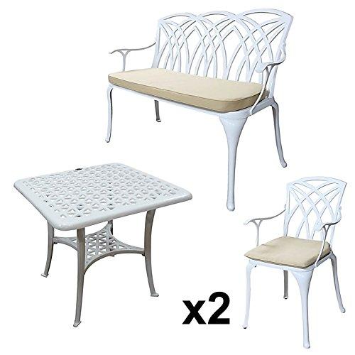 Lazy Susan - SANDRA Quadratischer Kaffeetisch mit 1 APRIL Gartenbank und 2 APRIL Stühlen - Gartenmöbel Set aus Metall, Weiß (Beige Kissen)
