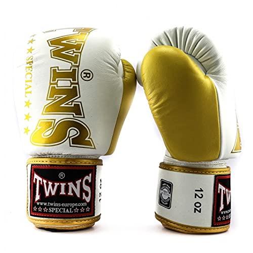 Twins Giant Logo Boxing Gloves BGVL9 Muay Thai Kickboxing Sparring Gloves 10oz 12oz 14oz 16oz Twins Special Adult Training Gloves WhiteGold 12oz