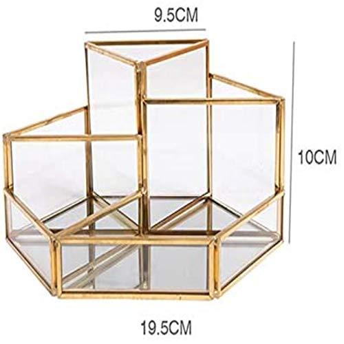 NZBZ Caja de almacenamiento cosmética de vidrio titular cepillo cosmético transparente caja de almacenamiento de maquillaje, joyería de perfume caja bandeja