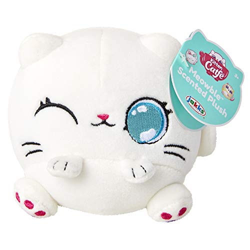 """Kitten Catfé Meowble Super Soft Scented Plush - White Persian Cat - ?Meowberry Scented? (Strawberry) 4"""" Round Kitten Ball Plush, for Birthday Party Or Easter!"""