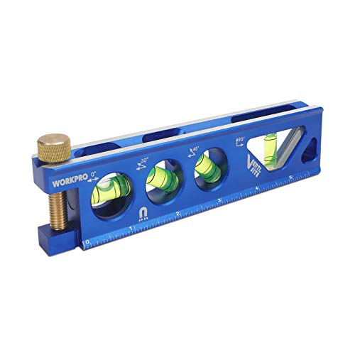 WORKPRO Torpedo Level, Magnetic, Verti. Site 4 Vial for Conduit Bending, Aluminum Alloy Construction, 6.5-inch