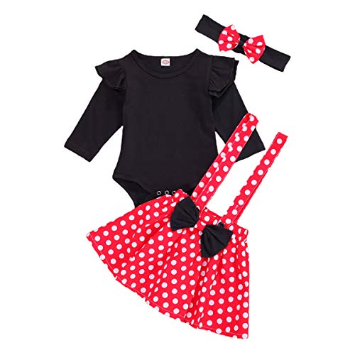 Baby Girl Ruffle Romper Tops Polka Dot Dress Suspender Tutu Skirt Bow Knot Headband 3Pcs Toddler 1st Birthday Outfit (Red, 6-12 Months)
