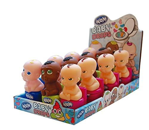 """WOM Baby Drops, Grappige Baby's zittend op een Toilet met Kauwsnoepjes """"Jelly Beans"""" van 3 Smaken: Ananas, Limoen en Cola. Display van 12 Eenheden met 3 Verschillende Baby's om te Verzamelen"""