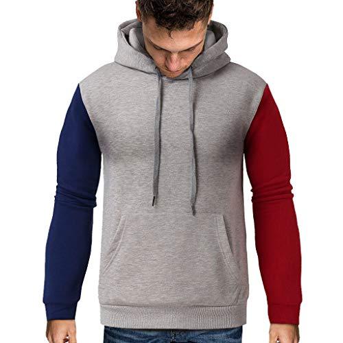 serliy😛Herren Sweatshirt Männer Sweatshirt Kapuze Herbst Winter Männer Patchwork Pullover Langarm Outwear Jacke