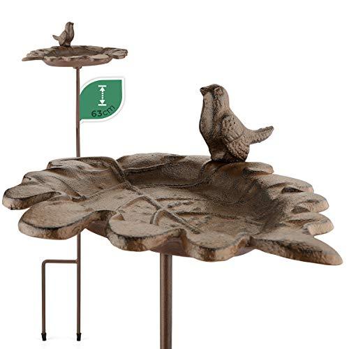 WILDLIFE FRIEND I Vogeltränke stehend, Vogeltränke Garten groß auf Stab - Höhe 63cm I Vogelbad frostsicher aus Gusseisen - Wasserschale Blattform