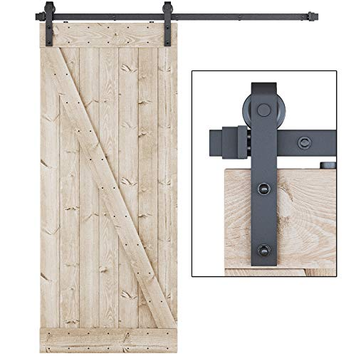 LDB_Building 6 FT Sliding Barn Door Hardware Kit, Upgraded Nylon Hanger, Easy to Install, Perfect...