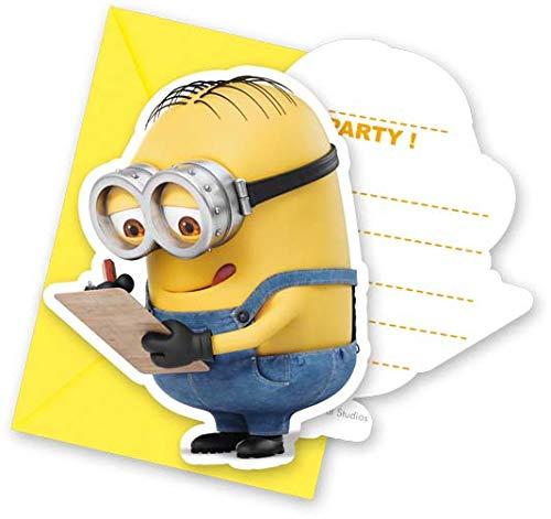 Procos 87181 - Einladungskarten mit Umschlägen Minions, 6 Stück, Kindergeburtstag