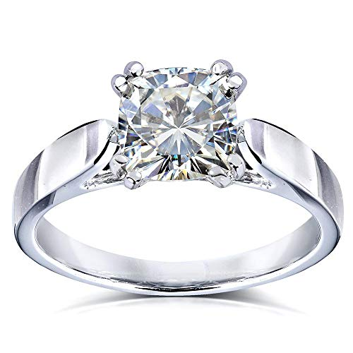 Kobelli Cushion-cut Moissanite Solitaire Engagement Ring 1 1/10 Carat 14k White Gold, Size 10.5