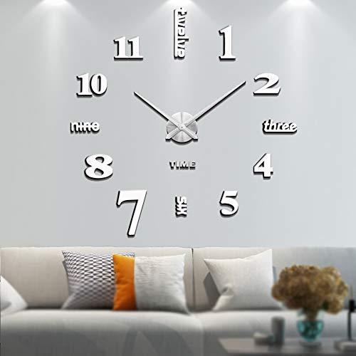 Vangold Moderne Mute DIY große Wanduhr 3D Aufkleber Home Office Decor Geschenk (Silber-14)