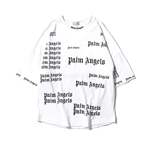 Unisex Palm Angels T Shirt Casual Couple PA Angels Letter Printing Sweatshirt Hip Hop Street Style for Men Women,White,M