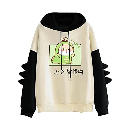 VEMOW Sudaderas con Capucha Manga Larga Mujer Linda Chicas Kawaii Japonés Dibujos Dinosaurio Camiseta Talla Grande, Otoño Invierno Hoodie Pullover Béisbol Jersey Blusa Tops Sweatshirt(C Negro,M)