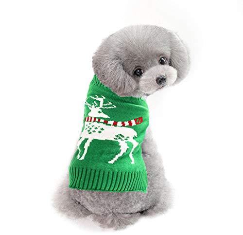 Delifur Dog Ugly Christmas Sweater Dog Reindeer Sweater Reindeer Ugly Christmas Sweater for Cat Puppy & Small Medium Dog (X-Small, Green)
