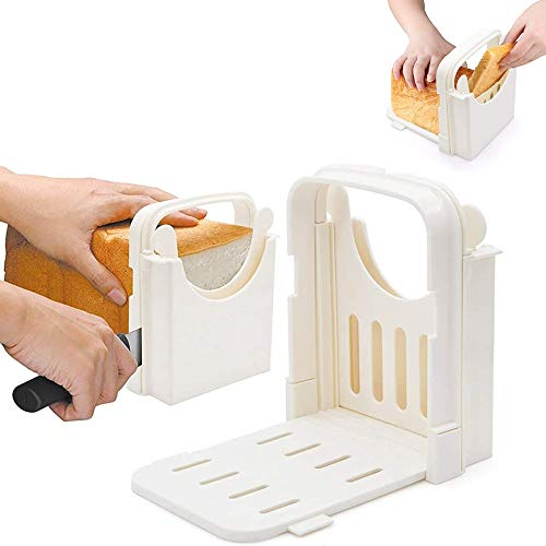 5 Slice Thicknesses Bread Slice-Manual Plastic Bread Slicer,Bagel Slicer,Toast Slicer,Bread Cutting Mold, Food Chopper for Sandwich Slice,Bread cut,Food Chop, Home Kitchen Use and DIY White